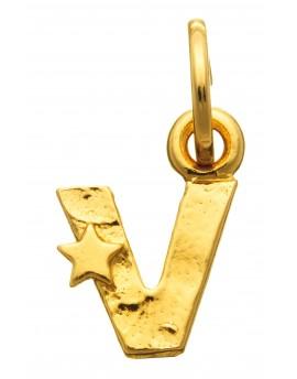 Charm lettera V dorata con stelle Raspini